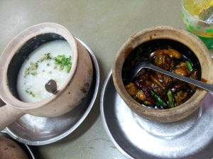 chilli frog leg porridge at Sin Ma Live Seafood Restaurant