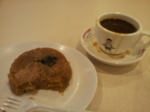 glutinous rice with meat and kopi at a Kopitiam (traditional coffee shop)