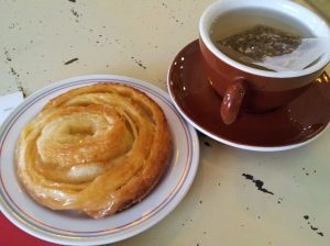kouign amann (salted caramel and butter pastry) and tea at Tiong Bahru Bakery