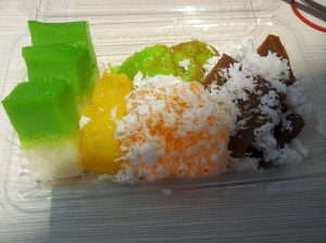 assorted kueh box (desserts mostly made with glutinous rice flour, coconut, and sugar)