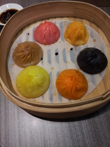 xiao long bao - 6 different flavors of soup dumplings (foie gras, spicy chicken, cheese, truffle, spicy beef, and shrimp) at Crystal Jade